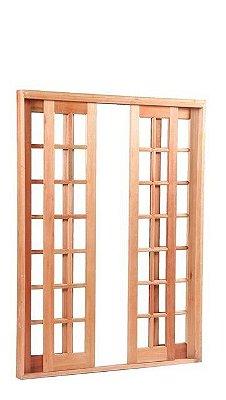 Porta de Correr em Madeira Cedro Arana 4 Folhas Quadriculada sem Vidro com Fechadura Batente 10 cm - Uniportas