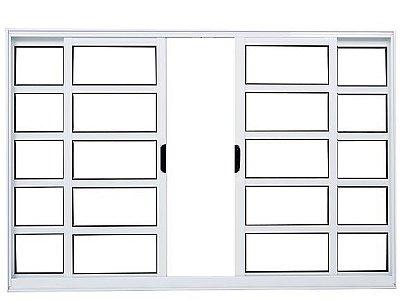 Janela de Correr em Alumínio Branco 4 Folhas Com Travessas Vidro Liso Incolor - Linha FortSul - Esquadrisul