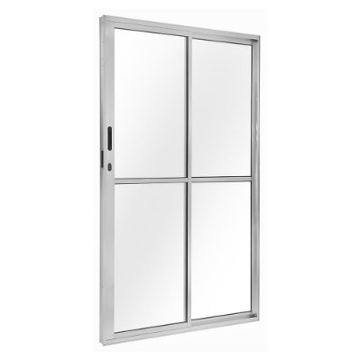 Porta de Correr em Alumínio Branco 2 Folhas Uma Fixa Vidro Liso Com Fechadura - Linha FortSul - L25 - Esquadrisul