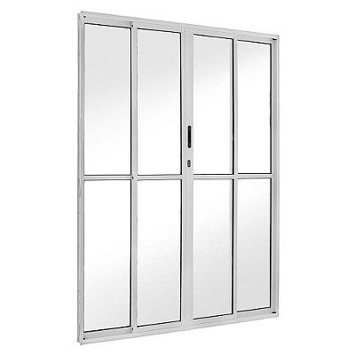 Porta de Correr em Alumínio Brilhante 4 Folhas Vidro Liso Com Fechadura - Linha FortSul - L25