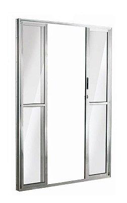Porta de Correr em Alumínio Brilhante 4 Folhas Vidro Liso Com Fechadura - Linha 25 Esquadrisul