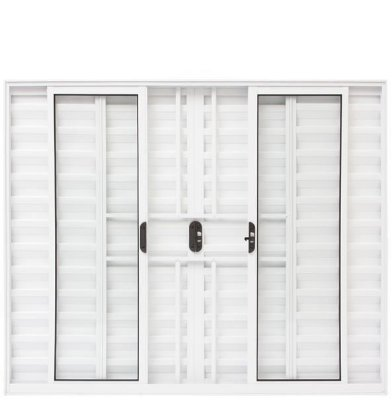 PRONTA ENTREGA - Janela Veneziana em Alumínio Branco 6 Folhas com Grade Vidro Liso Incolor - Linha Moderna Esquadrisul