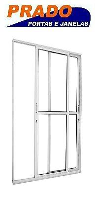 Porta de Correr em Alumínio Branco 2 Folhas Móveis Vidro Liso Com Fechadura - Linha 25 Prado