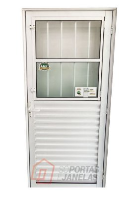 Porta de Abrir (Giro) em Alumínio Branco Social com Postigo Vidro Mini Boreal - Linha 25 Lux Esquadrias