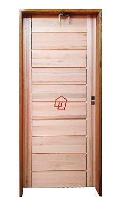 Porta de Abrir (Giro) Big Brother em Madeira Maicça Eucalipto com Fechadura e Maçaneta Externa Modena MGM - Batente de 14 Cm Uniportas