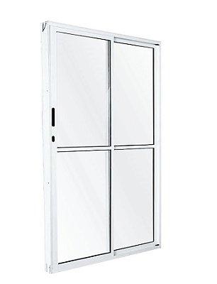 PRONTA ENTREGA - Porta de Correr em Alumínio Branco 2 Folhas Uma Fixa Vidro Liso Com Fechadura - Linha 25 Esquadrisul