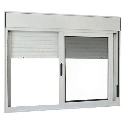 Janela Integrada em Alumínio Branco com Persiana de Enrolar e 2 Folhas Móveis Vidro Liso Acionamento Manual - Linha Premium - Lux Esquadrias