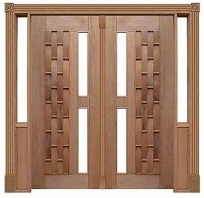 Porta de Abrir 2 Folhas Pivotante Couro Longo 120 Vidro Reto em Madeira Cedro Arana Montada no Batente de 14 Cm com Pivô - Casmavi