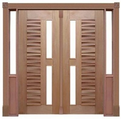 Porta de Abrir 2 Folhas Pivotante Madri 180 Vidro Reto em Madeira Cedro Arana Montada no Batente de 14 Cm com Pivô - Casmavi