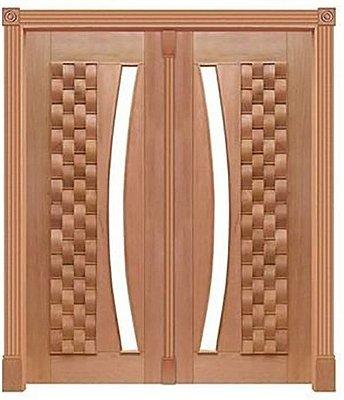 Porta de Abrir 2 Folhas Pivotante Couro Longo 370 Vidro Arco em Madeira Cedro Arana Montada no Batente de 14 Cm com Pivô - Casmavi