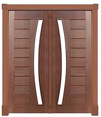 Porta de Abrir 2 Folhas Pivotante Mexicana 345 Vidro Arco em Madeira Cedro Arana Montada no Batente de 14 Cm com Pivô - Casmavi