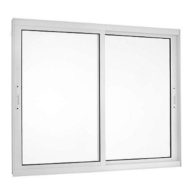 Janela de Correr em Alumínio Branco 2 Folhas Móveis Vidro Liso Incolor - Linha TopSul - Esquadrisul