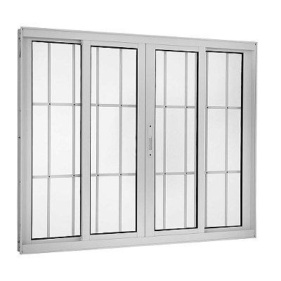 Janela de Correr em Alumínio Branco 4 Folhas com Grade Vidro Liso Incolor - Linha TopSul - Esquadrisul