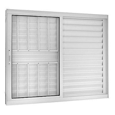 Janela Veneziana em Alumínio Branco 3 Folhas Móveis com Grade Vidro Liso Incolor - Linha TopSul - Esquadrisul