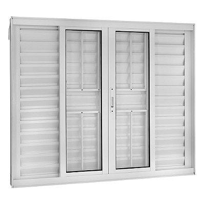 Janela Veneziana em Alumínio Branco 6 Folhas com Grade Vidro Liso Incolor - Linha TopSul - Esquadrisul
