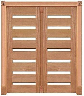 Porta de Abrir 2 Folhas Pivotante Mexicana Para 14 Vidros 355 em Madeira Cedro Arana Montada no Batente de 14 Cm com Pivô - Casmavi