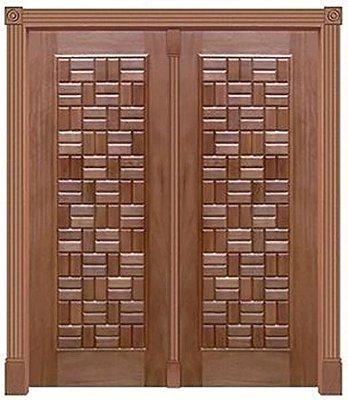 Porta de Abrir 2 Folhas Pivotante Clássica 380 em Madeira Cedro Arana Montada no Batente de 14 Cm com Pivô - Casmavi