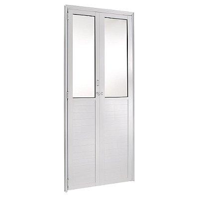 Porta Camarão em Alumínio Branco Lambril Com Vidro Mini Boreal - FortSul L25 - Esquadrisul