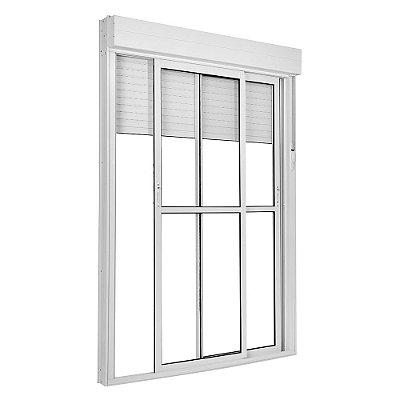 Porta Integrada em Alumínio Branco com Persiana de Enrolar e 2 Folhas Móveis Vidro Liso Acionamento Manual Com Fechadura - Linha TopSul - Esquadrisul