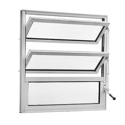 Janela Basculante em Alumínio Branco Uma Seção Vidro Mini Boreal - Linha TopSul - L25 - Esquadrisul