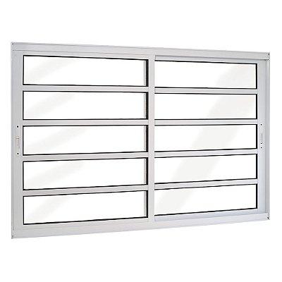 Janela de Correr Travessa em Alumínio Branco 2 Folhas Móveis Vidro Liso Incolor - Linha TopSul - Esquadrisul