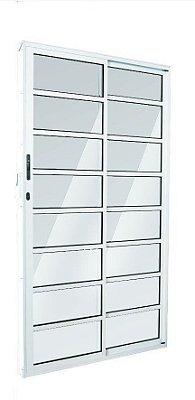 Porta de Correr em Alumínio Brilhante 2 Folhas (1 Fixa) de Vidro com Travessa e Fechadura - Linha FortSul - L25