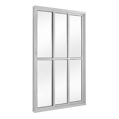 Porta de Correr em Alumínio Branco 3 Folhas Móveis Vidro Liso Com Fechadura - Linha TopSul - L30 - Esquadrisul