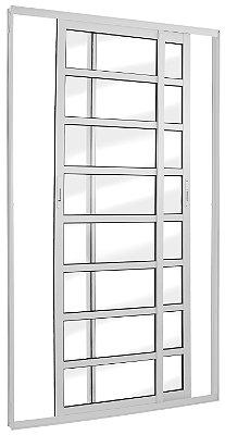Porta de Correr em Alumínio Branco 2 Folhas Móveis com Travessas de Vidro Liso Incolor com Fechadura - Linha TopSul - L30 - Esquadrisul