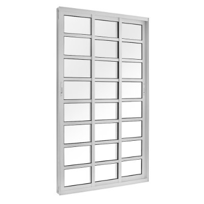 Porta de Correr em Alumínio Branco 3 Folhas Móveis com Travessas de Vidro Liso Incolor com Fechadura - Linha TopSul - L30 - Esquadrisul