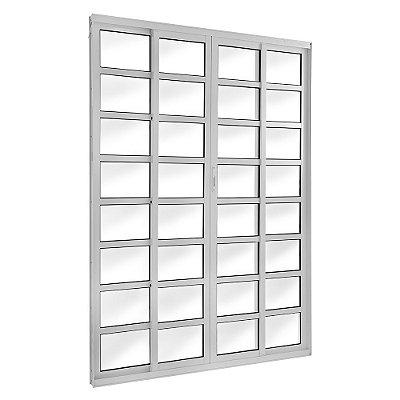 Porta de Correr em Alumínio Branco 4 Folhas com Travessas e Vidro Liso Com Fechadura - Linha TopSul - L30 - Esquadrisul