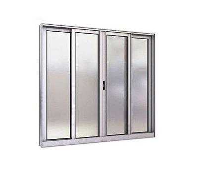 Janela de Correr em Alumínio Fosco 4 Folhas Vidro Liso Incolor - Linha Modular Esap