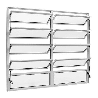 Janela Basculante em Alumínio Branco duas Seções Vidro Mini Boreal - Linha FortSul - Esquadrisul