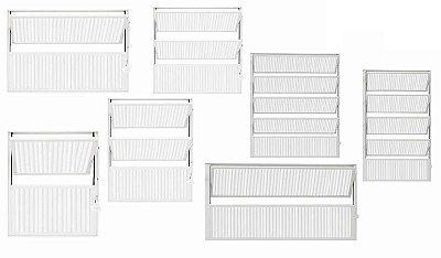 PRONTA ENTREGA - Janela Basculante em Alumínio Branco uma Seção Vidro Mini Boreal - Linha Moderna - Esquadrisul