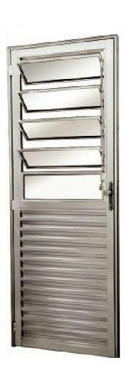 Porta de Abrir (Giro) em Alumínio Fosco Com Basculante Vidro Canelado - Linha 25 Esap