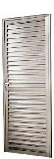 Porta de Abrir (Giro) em Alumínio Fosco Palheta Sem Ventilação - Linha 25 Esap