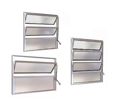 Janela Basculante em Alumínio Fosco uma Seção Vidro Canelado - Esap