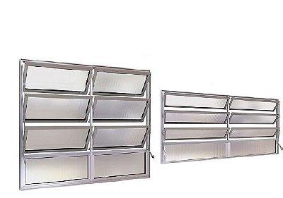 Janela Basculante em Alumínio Fosco duas Seções Vidro Canelado - Esap