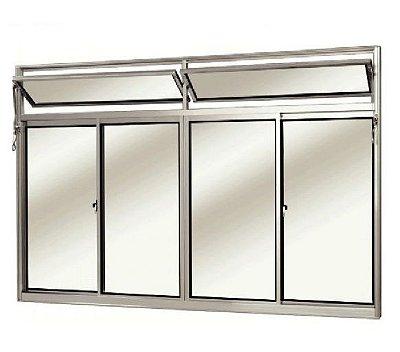 Janela de Correr em Alumínio Fosco 4 Folhas Com Bandeira Vidro Liso Incolor - Linha Modular Esap
