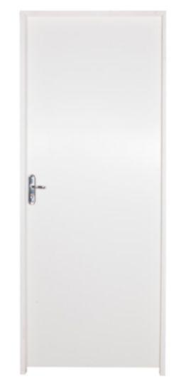Porta de Abrir (Giro) Semi-Pronta em Madeira Semi Oca Lisa HDF com Primer Branco Montada Batente Ecológico de 14 cm com Fechadura Externa CR - Uniportas