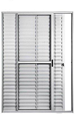 PRONTA ENTREGA - Porta Balcão em Alumínio Branco 3 Folhas Uma Fixa Vidro Liso e Veneziana Com Fechadura - Linha Max Lux Esquadrias