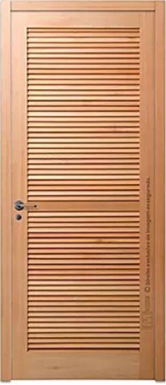 Porta de Abrir (Giro) Veneziana em Madeira Tauarí Maciça com Fechadura Externa Torino Montada no Batente de 14 cm - Mapaf