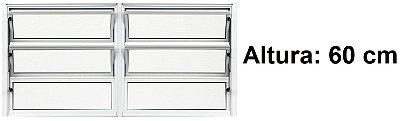 Janela Basculante em Alumínio Branco duas Seções Vidro Mini Boreal - Lux Esquadrias