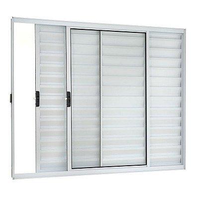 PRONTA ENTREGA - Janela Veneziana em Alumínio Branco 3 Folhas Uma Fixa Vidro Liso Incolor - Linha Moderna Esquadrisul
