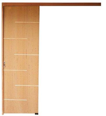 Porta Suspensa POP em Madeira Angelim com Trilho em Madeira Padrão Cedro Com Puxador ( Kit Desmontado) - Uniportas