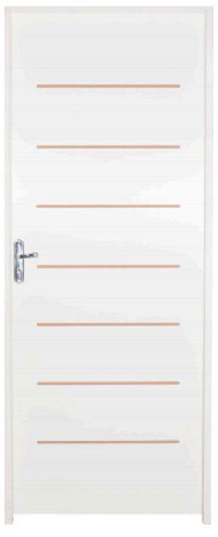 Porta de Abrir (Giro) Cristal em Madeira HDF com Primer Branco e Fechadura Stam Externa Roseta Montada Batente Ecológico de 14 cm - Uniportas