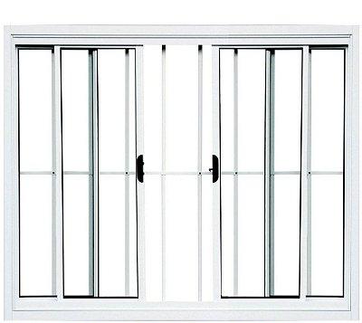 Janela de Correr em Alumínio Branco 4 Folhas Com Grade Vidro Liso Incolor - Linha Normatizada Lux Esquadrias