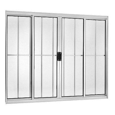Janela de Correr em Alumínio Branco 4 Folhas com Grade Vidro Liso Incolor - Linha Moderna