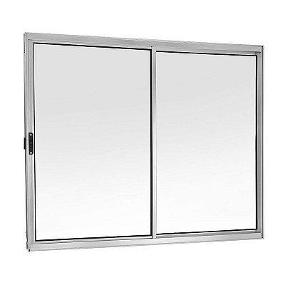 PRONTA ENTREGA - Janela de Correr em Alumínio Branco 2 Folhas Uma Fixa Vidro Liso Incolor - Linha Moderna - Esquadrisul