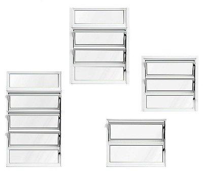 Janela Basculante em Alumínio Branco uma Seção Vidro Mini Boreal - Lux Esquadrias