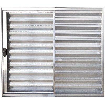 PRONTA ENTREGA - Janela Veneziana em Alumínio Brilhante 3 Folhas Uma Fixa Vidro Liso Incolor - Linha Normatizada Lux Esquadrias